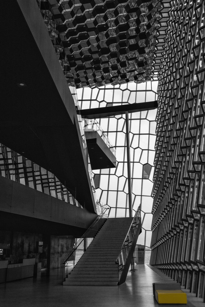Harpa black and white