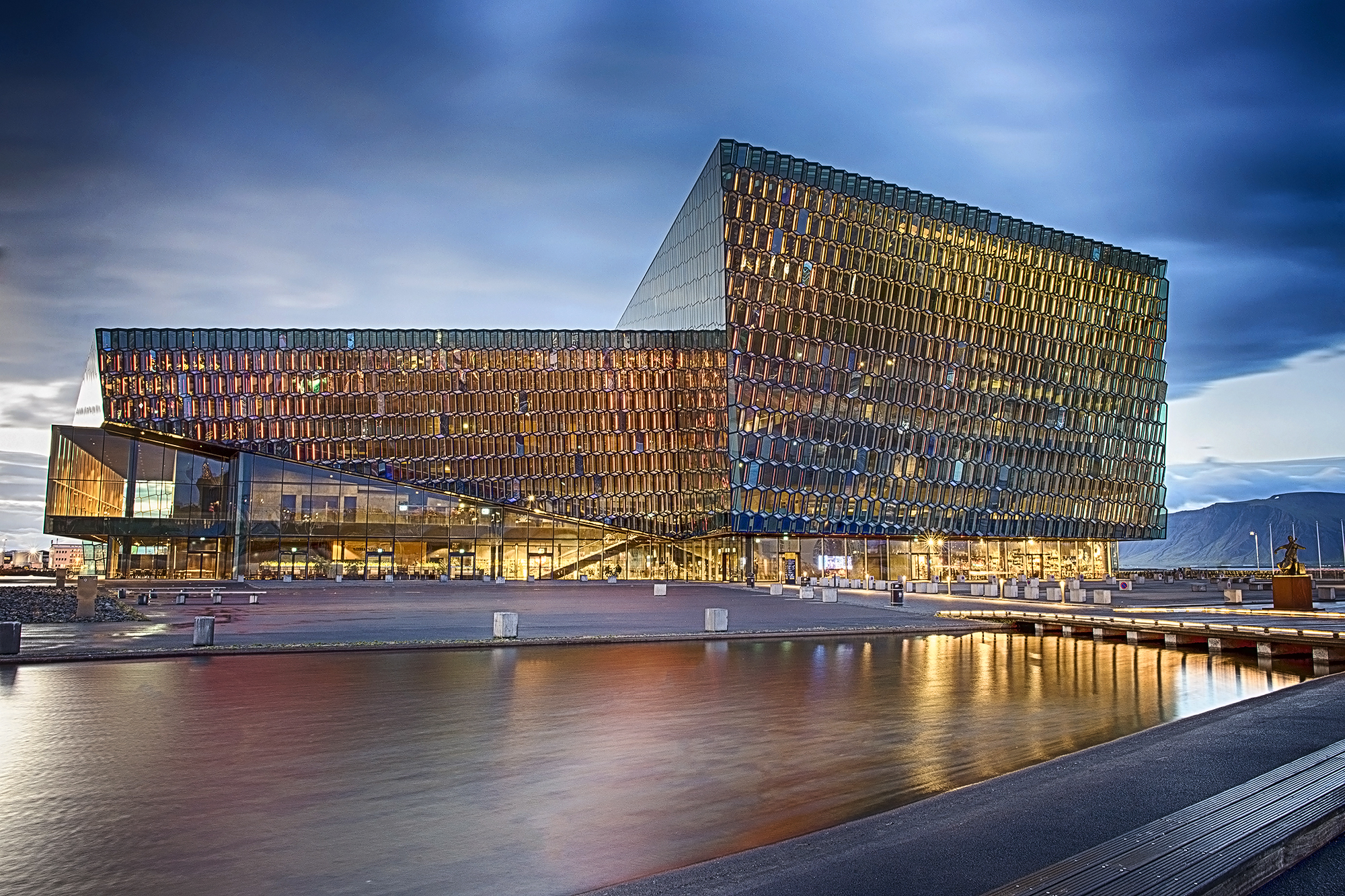 Photographing Harpa outside