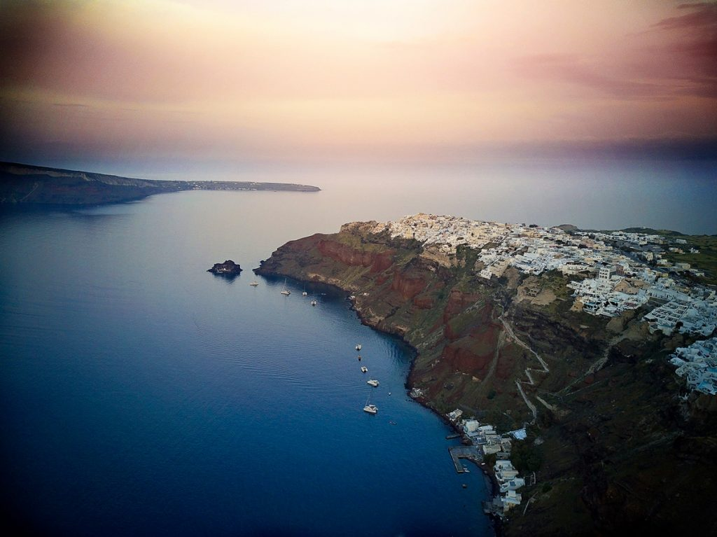 Drone photography of the town of Oia in Santorini