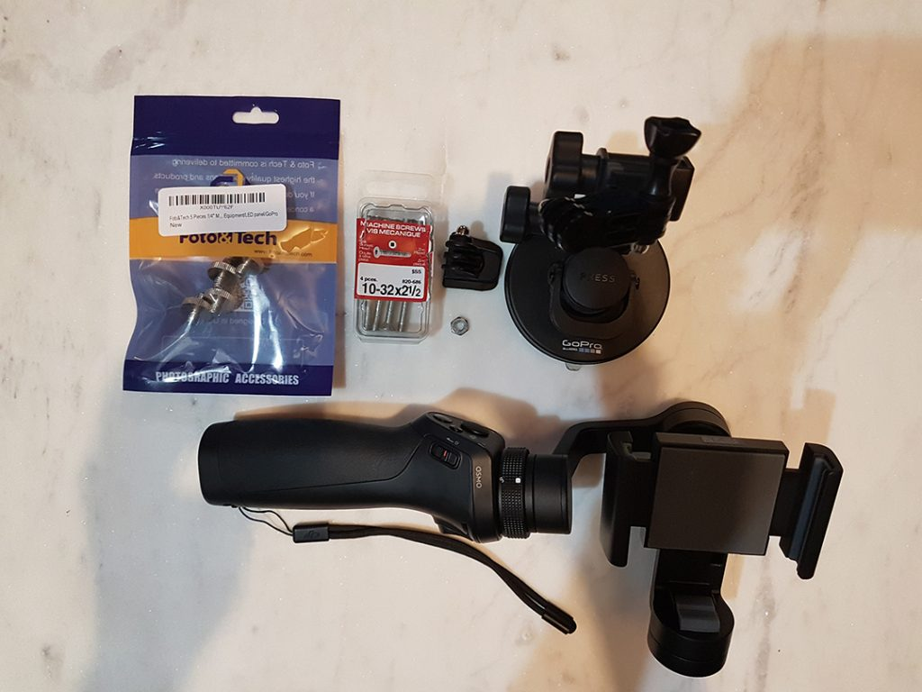 Materials needed to mount Osmo to Gopro mounts