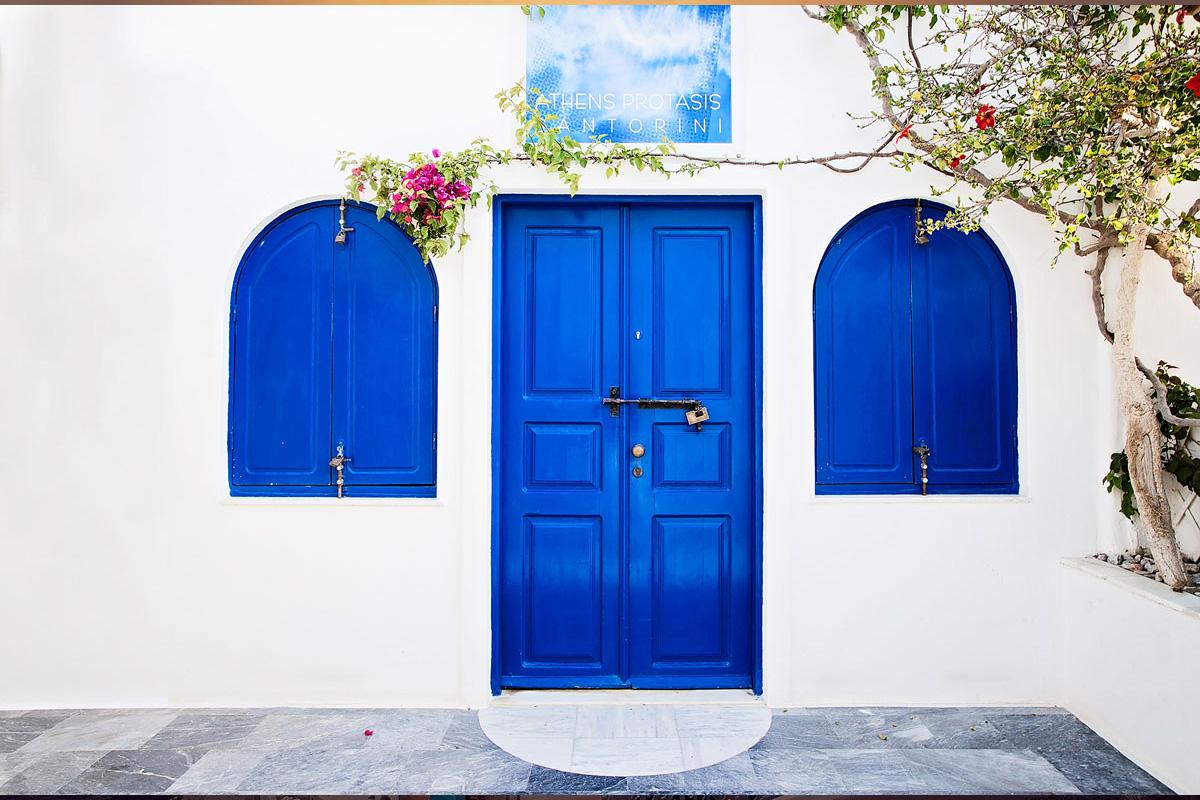 blue doors in santorini