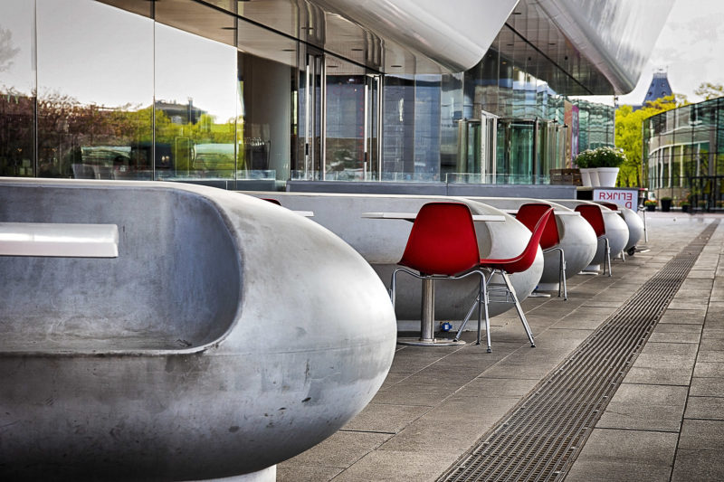 seating area by I Amsterdam sign