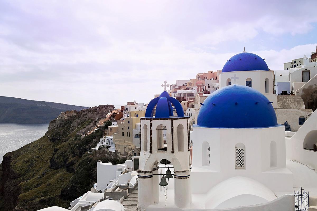 blue domed churches of Oia Santorini