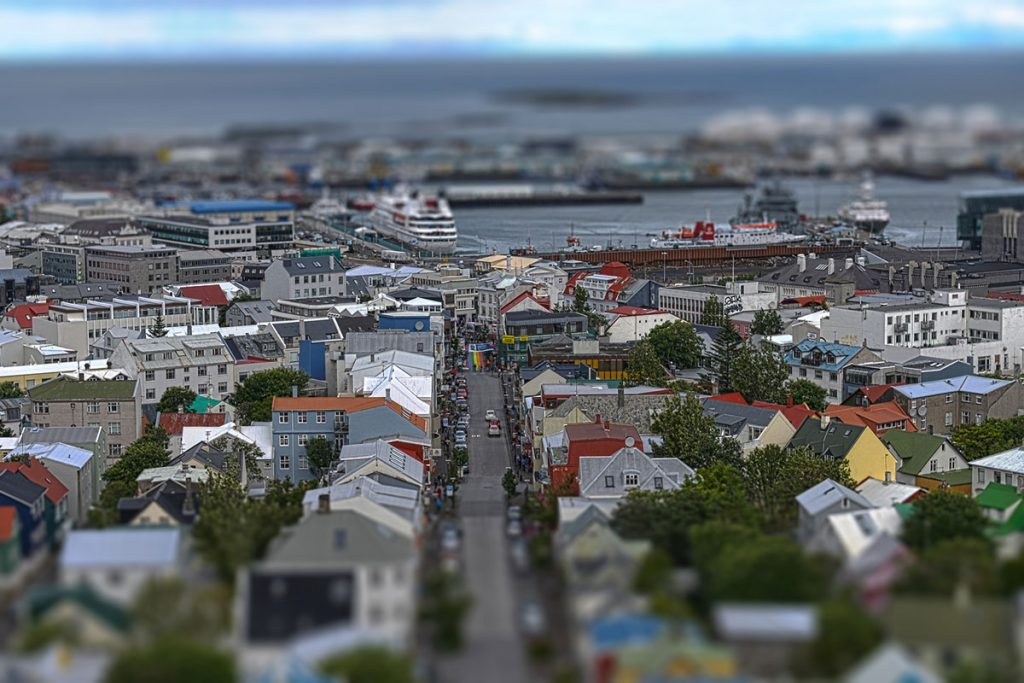 View of colored rooftops in Reykjavik