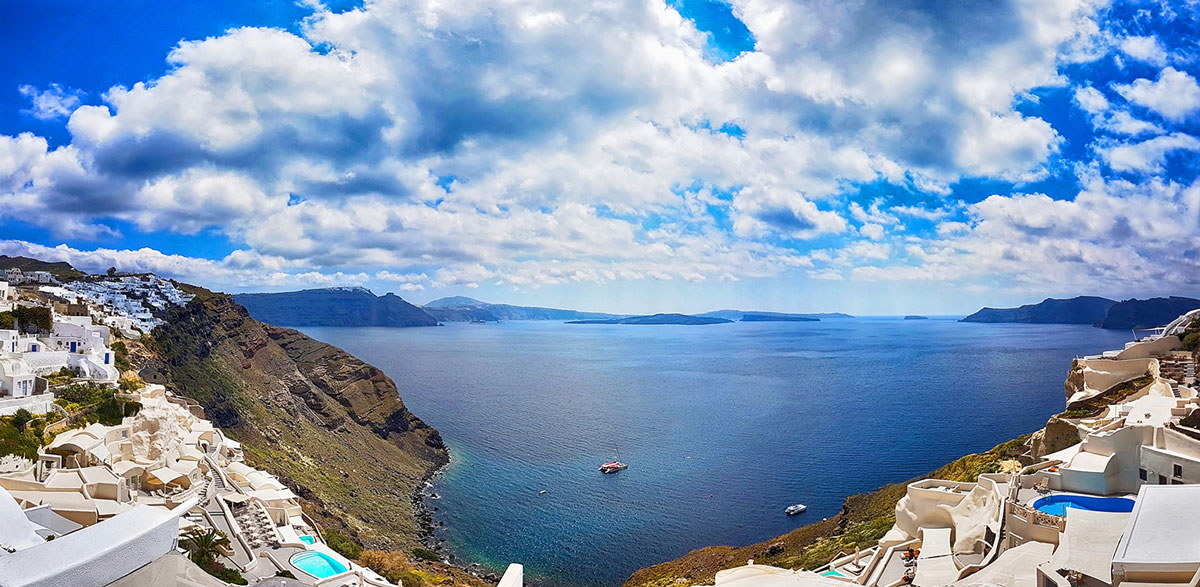 panorama view from Canaves Oia Hotel
