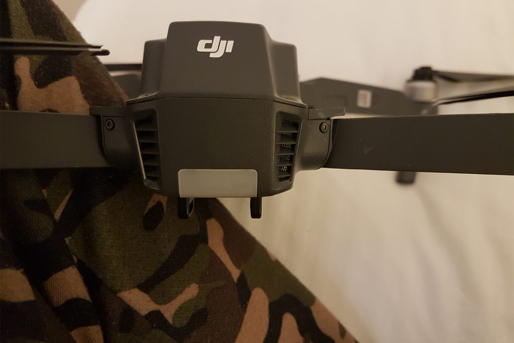 Crash damage of DJI Mavic after flying a drone from a boat
