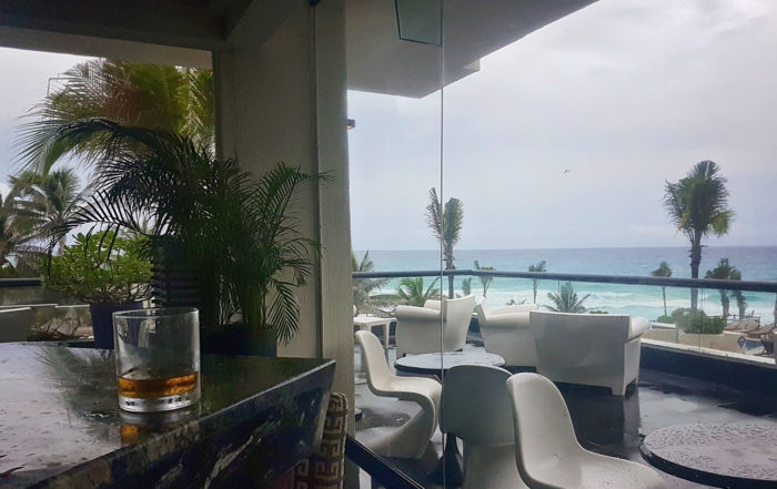drinks inside on a rainy day in cancun
